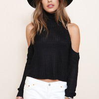 Cold Shoulders Knit Sweater