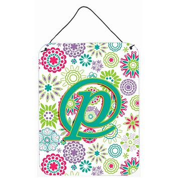 Letter P Flowers Pink Teal Green Initial Wall or Door Hanging Prints CJ2011-PDS1216