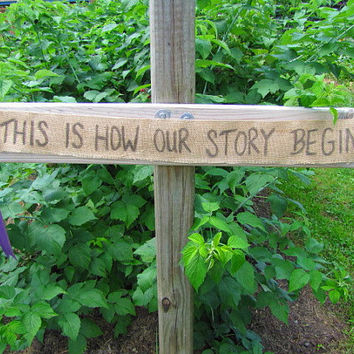 Vintage/Chic Wedding Banner This Is How Our Story Begins Burlap Wedding Banner Vintage Casual Elegant Shabby Rustic CUSTOM RIBBON COLOR