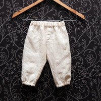 Natural linen toddler boys pants, birthday trousers, Eco friendly, Boho pants in beige color // size US 1-6 (EU 80-116)