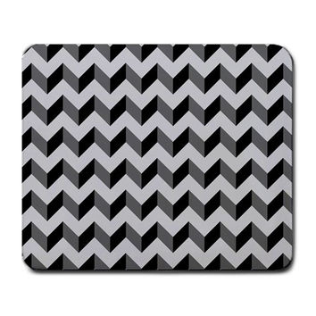 Modern Retro Chevron Patchwork Pattern Large Mouse Pad (Rectangle)
