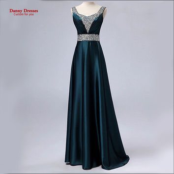 New 2016 Dark Green V-Neck Fashion Formal Robe de soiree Plus size Party vestido de festa Beading long Evening dress