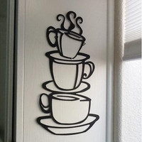Kitchen Wall Art Three Coffee Cups