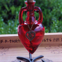 LOVE SPELL Scarlet Red Bronze Heart Ancient Magic Amphora Witches Potion Bottle, Enchanting Corked Glass Vessel with Sturdy Metal Stand