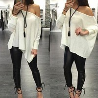 Women Simple All-match Casual Long Sleeve Solid Color Loose T-shirt Tops
