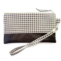 Earth Tone Plaid print & Faux Leather Wristlet / Zipper Pouch / zipper wristlet clutch / Handmade zipper bag