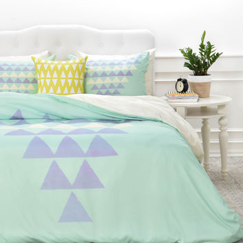 Allyson Johnson Purple Triangles Duvet Cover