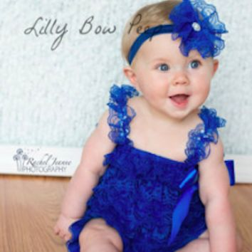 Royal Blue Lace Newborn Baby Romper Photo Prop - CPD001RO
