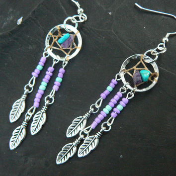 dreamcatcher earrings PURPLE in native american inspired  tribal boho belly dancer and hipster style