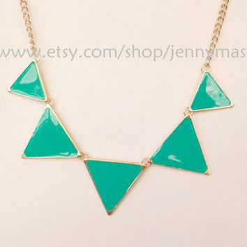 Fluorescence green turquoise Jewelry, Fashion Necklace, pub high street necklace, punk necklace