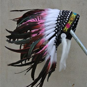 Light pink Indian feather Headdress handmade native American halloween costume indian War Bonnet for halloween costume