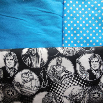 Turquoise Star Wars Infinity Scarf - Soft Cotton Flannel - Black White Star Wars Scarf - Original Cast Characters - Leah Hans Yoda Chewbacca