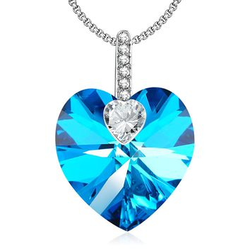 "[Valentines Day Gift] Angelady""Love Guardian""Heart Pendant Necklace Crystal from Swarovski ,Gift for Women Birthday Anniversary"