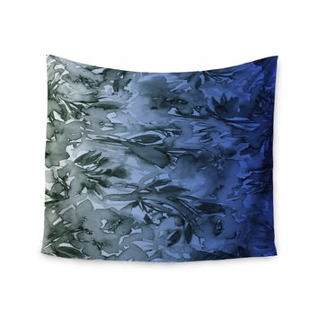 """Ebi Emporium """"Forever Flowers, Blue Ombre"""" Blue Gray Watercolor Wall Tapestry"""