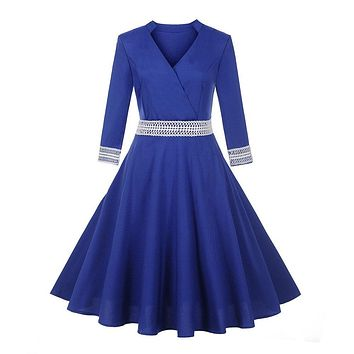 Vintage Women Dress Elegant Half Sleeve V Neck Dress Patchwork Evening Party Prom Swing Dress