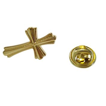 Gold Toned Intricately Detailed Cross Lapel Pin