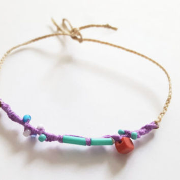 Thin cute boho chic friendship bracelet braided turquoise purple glass beads indie hippie hipster chan luu free people designer inspired