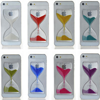 New Clear Sand Clock Sand Glass Transparent Flowing Hourglass Pattern Liquid Case For iPhone 5/5S Mobile Phone Cases Covers