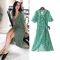 Women's Summer New Print Cross V-Neck Dress Slim Green Short Sleeve Dress