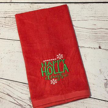 Christmas Hand Towel,Monogrammed Towels,Kitchen Towels,Teacher Gift,Housewarming Gift,Linens,Christmas Decor,Hand Towel,Bathroom Decor