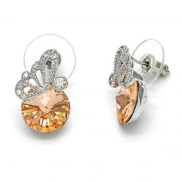 Gold Layered 02.26.0144 Stud Earring, Butterfly Design, with White Cubic Zirconia and Light Peach Swarovski Crystals, Polished Finish, Rhodium Tone