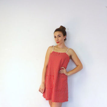 Vintage 60s 70s Red White Polka Dot Rope Tie Shift Dress Summer Sack Dress Beach Babe 50s Pin Up Girl Nautical Sailor Hipster Indie Kawaii