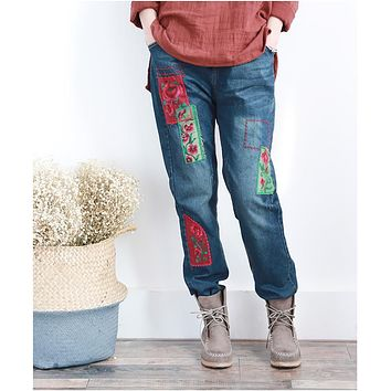 Women Appliques Embroidery Floral Patch Jeans Flower embroidered Elastic waist Drawstring Bleached Denim Trousers Denim Pants