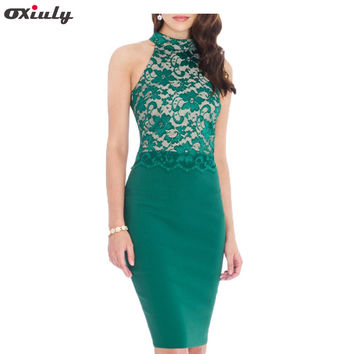Oxiuly Women Sexy Knitted Halter Bustier Green Lace Crop Top Sleeveless Patchwork Slim Club Wear Casual Party Pencil Dress