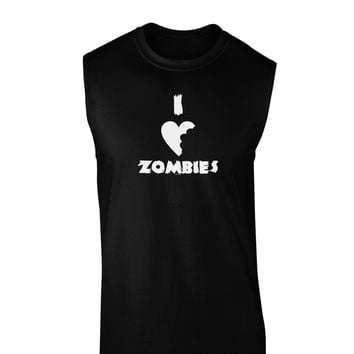 I Heart Zombies - Funny - Halloween Dark Muscle Shirt