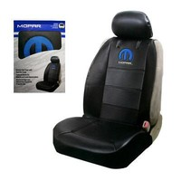Licensed Official New Blue Mopar Elite Logo Synthetic Leather Sideless Car Truck Front Seat Cover