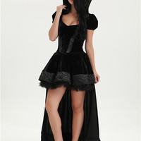 Evil Queen Fancy Dress Snow White Dark Fairy Tale Costume Wicked Black Outfit