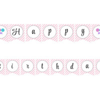 Lollipop/Sweet Shoppe Happy Birthday Banner: INSTANT DOWNLOAD