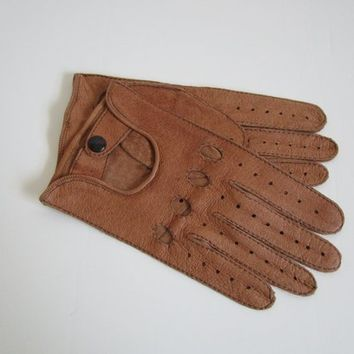 Vintage Mens 70s Gloves Brown Mens Leather 1970s Snap Driving Gloves 8.5