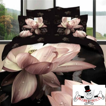 3D Black Lotus Pink Bedding Set and Quilt Cover