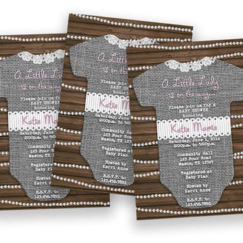 Pearl and Lace Its a Girl Baby Shower Invitation - Pink and Grey Burlap Romper Baby Shower Invitations - Country- Shabby - Rustic - Lady