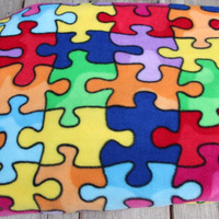 Autism Awareness Fleece Blanket, Teen Adult Size, Double Sided Fleece Blanket, Support Autism