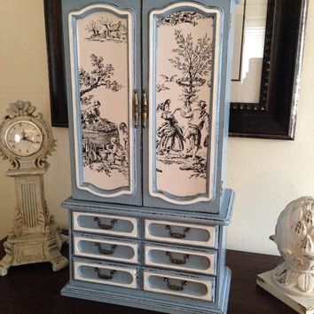 Large Vintage Jewelry Armoire Hand Painted And Decoupaged Wedgwood Blue With Toile