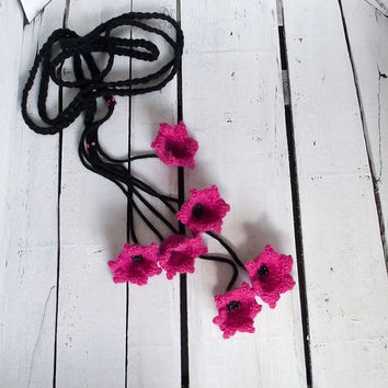 Dark Pink Lilies, Crochet Necklace, Lariat, Beadwork, Crochet Accessories for Women, ReddApple, Gift Ideas for Mothers