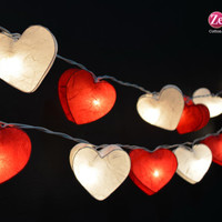 Red & White Heart : 20 Mulberry paper  String Lights Fairy lights Party  Decor Wedding Garden Spa and Holiday Lighting