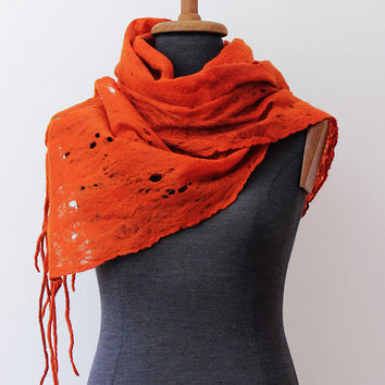 Orange felted scarf shawl wrap for woman, Handmade, Cobweb, Wool scarf, 100% natural, Wool accessories