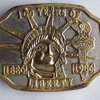 100 years Statue of Liberty 1886-1986 Belt Buckle Vintage