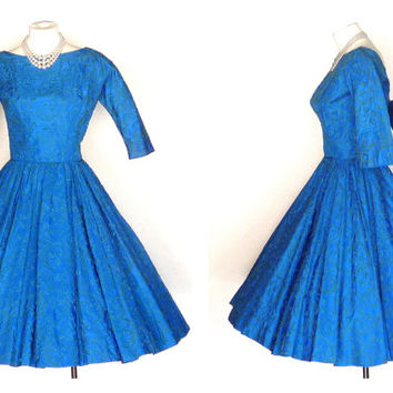 1950s Party Dress Vintage Circle Skirt Dress with Dramatic Rhinestone Buckle XS
