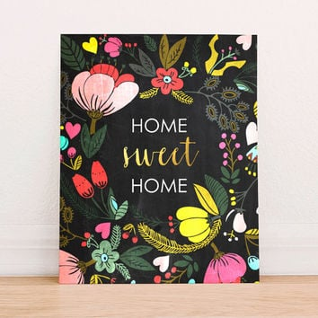 Home Sweet Home Floral Gold Foil Floral Chalkboard Digital Art Print Instant Download, Printable Home Art Print, Home Wall Decor