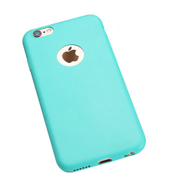 Sky Blue Lovely Candy Color with Apple Logo Window Rubber TPU Gel Soft Phone Back Case Cover Shell for iPhone 5 5s 6 6s 6 Plus 6s Plus