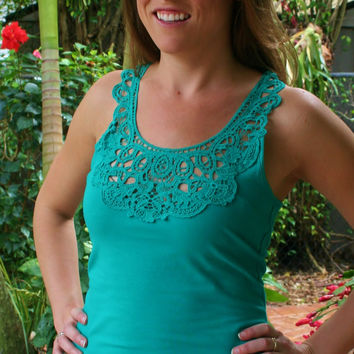 Emerald Green Lace Racerback Tank Top