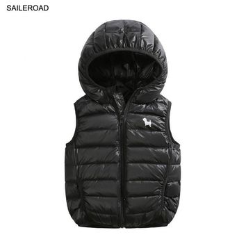 SAILEROAD 2-9Year Winter Girl Boy Waistcoat Solid Color Children Kids Boy White Duck Down Feather Vest Warm Baby Vest Clothes