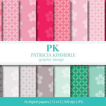 Digital Paper, Sakura Pink, Mint Green, Elegant, Floral, Shades of Gray, Backgrounds,Pattern Prints,16 digital paper pack - INSTANT DOWNLOAD