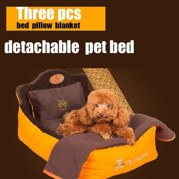 Detachable washsble 3 pieces set (Pet bed + pillow + blanket)  dog bed Soft luxury pet Princess Bed kennel dog teddy House bed
