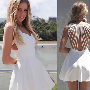 Fashion Female Solid Color V-Neck Stitching  Irregular Fine Sling Backless Zip Mini Dress