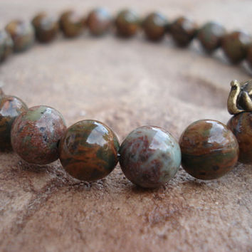 Men's Bracelet With Green Opal and Antique Bronze Elephant Bead